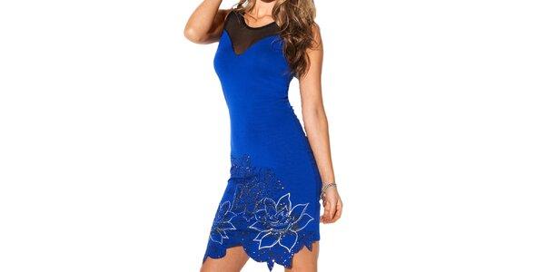 Dámske modré šaty s kvetinami Besired