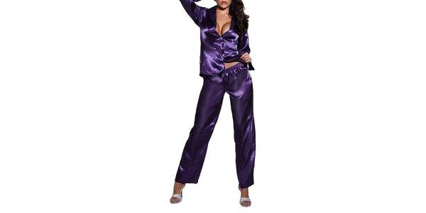 Dámske fialové lesklé pyžamo Besired