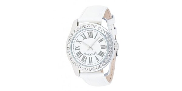 Dámske analógové hodinky s bielym remienkom a rímskymi číslicami Lancaster