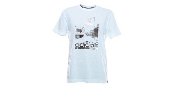 Pánske tričko s potlačou v bielej farbe Adidas