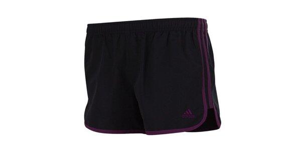 Dámske čierne šortky s fialovými prvkami Adidas
