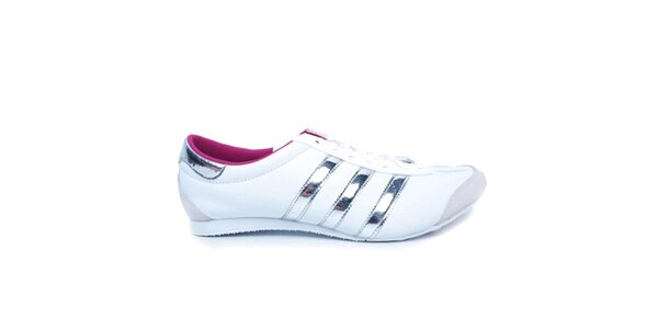 Dámske biele tenisky so striebornými pruhmi Adidas