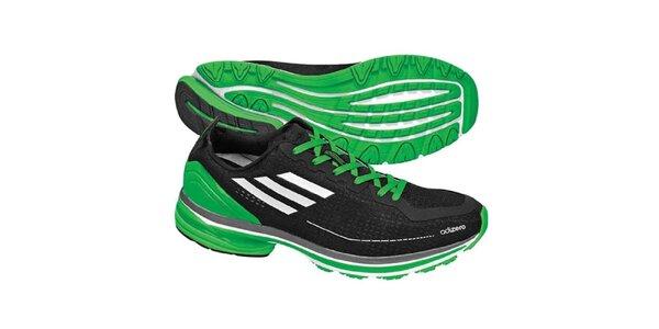 Pánske čierno-zelené topánky na behanie Adidas