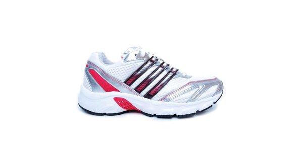 Dámske strieborné tenisky Adidas s ružovými pruhmi