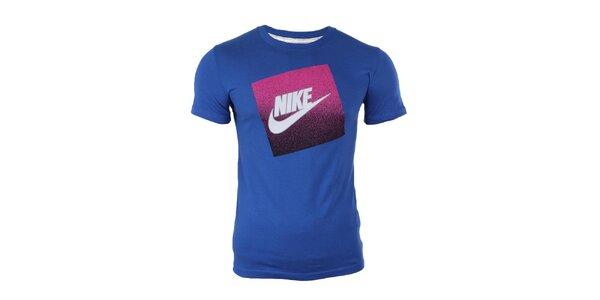 Pánske modré tričko s potlačou na hrudi Nike