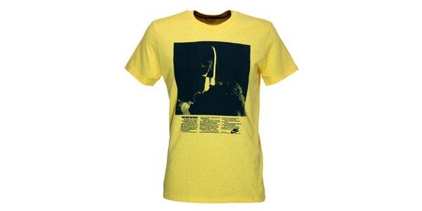 Pánske žlté tričko s potlačou Nike