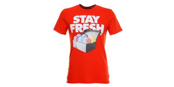 Pánske oranžové tričko s krátkym rukávom a potlačou Nike