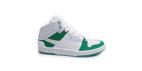 Pánske kotníkové bielo-zelené tenisky Puma