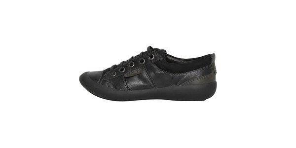 Dámske nízke čierne šnurovacie topánky Buggy