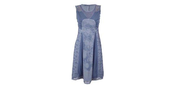 Dámske blankytno modré šaty s kvetinovou potlačou Angels Never Die