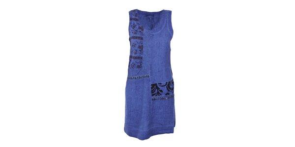 Dámske sýto modré šaty s ornamentmi Angels Never Die