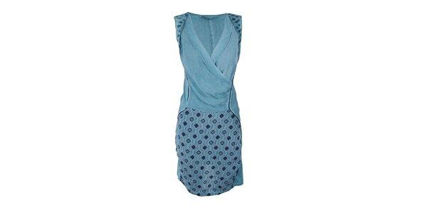 Dámske tyrkysové šaty so vzorovanou sukňou Angels Never Die