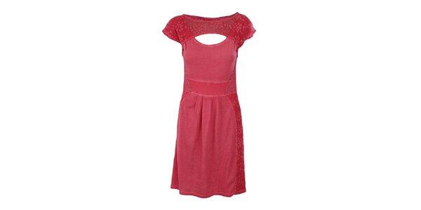 Dámske malinové šaty s prestrihom Angels Never Die
