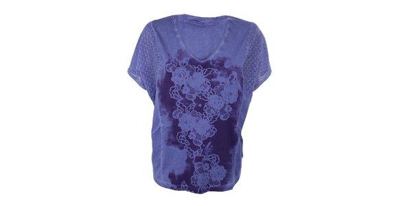 Dámske fialové tričko s kvetinami Angels Never Die