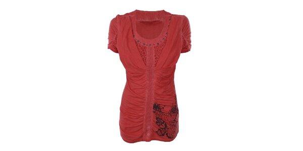Dámske korálové nariasené tričko Angels Never Die