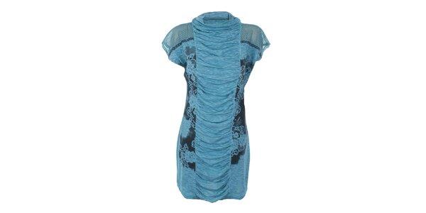 Dámske tyrkysové šaty s priehľadnými ramenami Angels Never Die