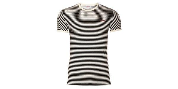 Pánske bavlnené tričko Kenzo s čierno-bielymi prúžkami a gulatým výstrihom