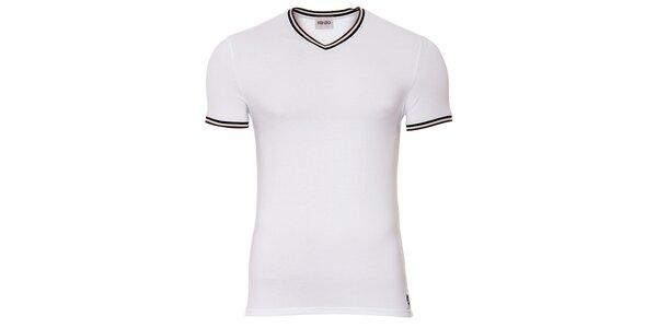 Pánske biele tričko Kenzo s výstrihom do véčka