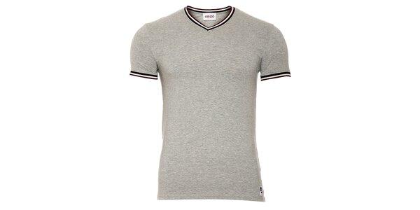 Pánske šedé tričko Kenzo s výstrihom do véčka