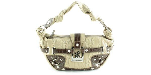 Dámska béžovo-hnedá kabelka Rocawear s kovovými detailami