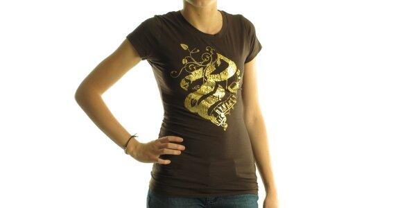 Dámske tmavo hnedé tričko Rocawear so zlatou potlačou