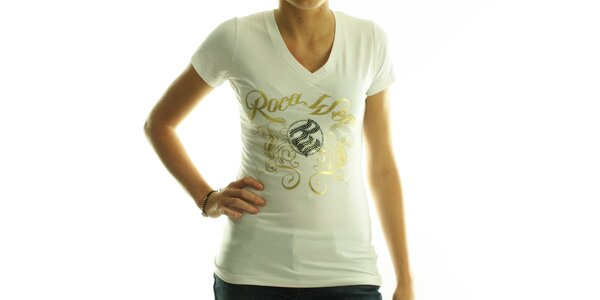 Dámske biele tričko Rocawear so zlatou potlačou a kamienkami