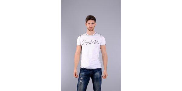 Pánske biele tričko Giorgio di Mare s potlačou