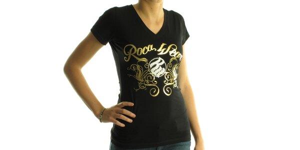 Dámske čierne tričko Rocawear so zlatou potlačou a kamienkami
