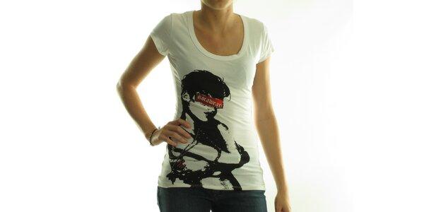 Dámske biele tričko Rocawear s čiernou potlačou a kamienkami