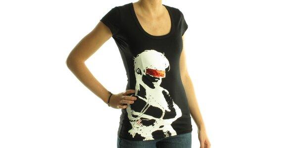 Dámske čierne tričko Rocawear s bielou potlačou