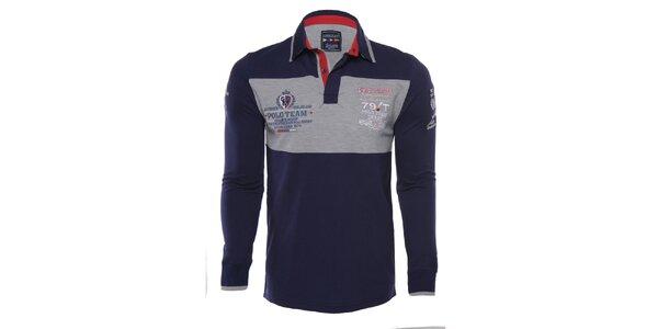Pánske modro-šedé polo tričko s dlhými rukávmi Giorgio di Mare