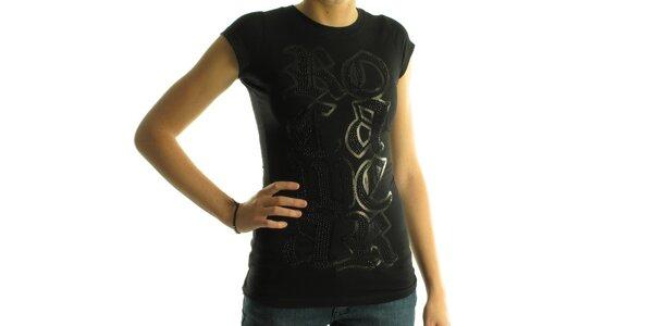 Dámske čierne tričko Rocawear s čiernymi kamienkami