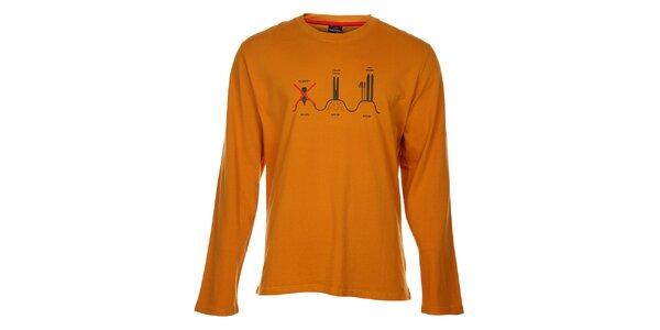 Pánske oranžové tričko Hannah s potlačou
