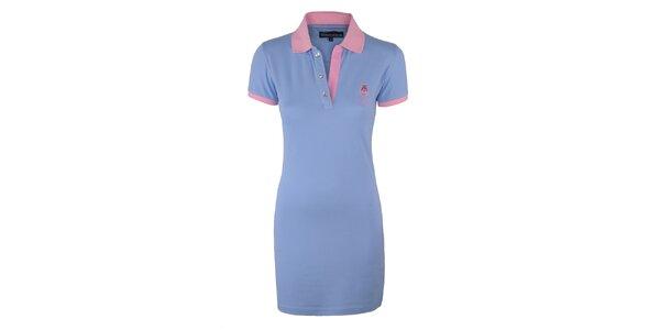 Dámske modré šaty s ružovým límčekom Giorgio di Mare