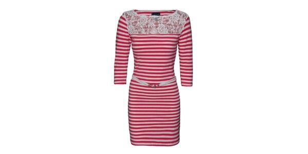 Dámske červeno-biele pruhované šaty s čipkou Giorgio di Mare