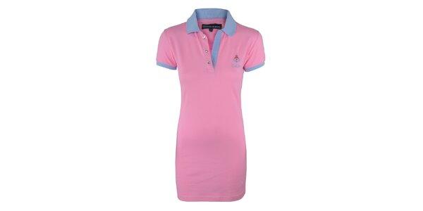 Dámske ružové šaty s modrým límčekom Giorgio di Mare
