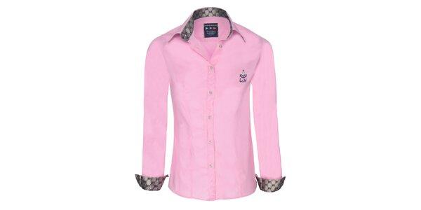 Dámska ružová košeľa so striebornými detailmi Giorgio di Mare