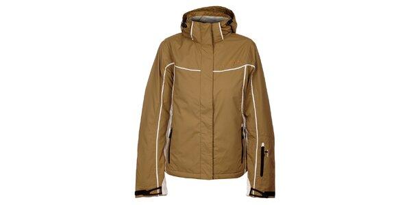 Dámska svetlo hnedá zimná bunda Hannah s bielymi detailami