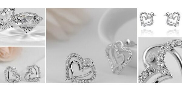 Komplet náušnice, prívesok v tvare srdca + darčeková krabička