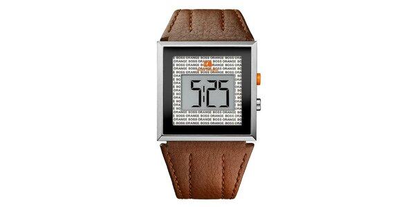 Pánske hnedé digitálne hodinky Hugo Boss Orange