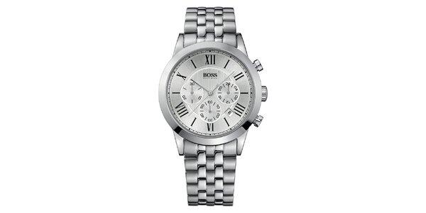 Pánske strieborné hodinky s rímskymi číslicami a chronografom Hugo Boss