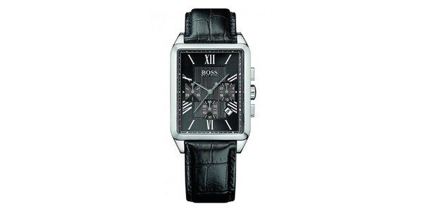 Pánske čierne hodinky s rímskymi číslicami a chronografom Hugo Boss
