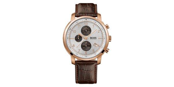 Pánske analógové hodinky s hnedým koženým remienkom a chronografom Hugo Boss
