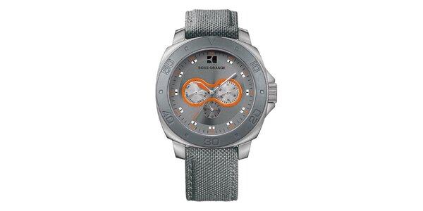 Pánske šedé hodinky s oranžovými detailmi Hugo Boss Orange