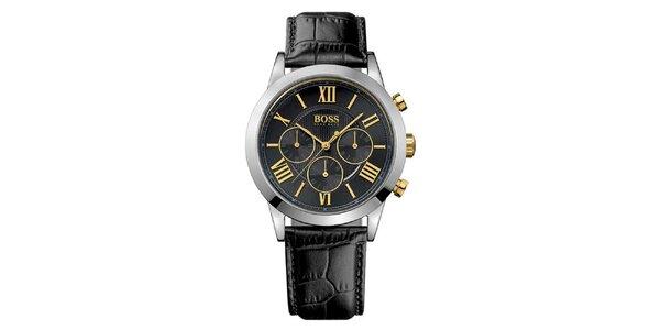 Pánske čierne hodinky s chronografom Hugo Boss Orange