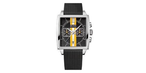 Pánske čierne hodinky s oranžovo-bielym prúžkom Hugo Boss Orange