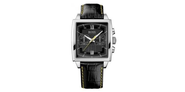 Pánske hranaté strieborné hodinky s chronografom Hugo Boss Orange