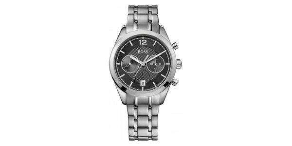 Pánske oceľové hodinky s čiernym ciferníkom a chronografom Hugo Boss