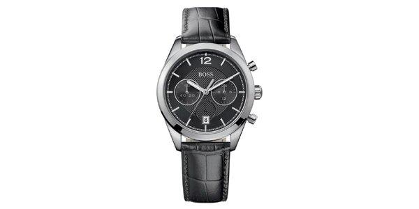 Pánske analógové hodinky s čiernym remienkom a chronografom Hugo Boss