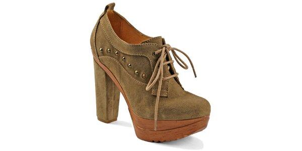 Dámske béžové šnúrovacie topánky na platforme Red Hot